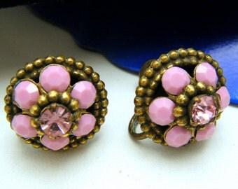 Vintage Coro Pink Milk Glass Rhinestone Earrings Old Screw Backs