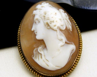 Carved Shell Cameo Brooch Pin Gold Tone Frame