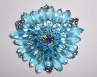 Rhinestone Brooch Blue Satin Glass Aurora Borealis Open Back Statement Pin