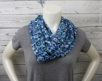 Blue Patterned Lace Infinity Scarf