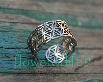 Flower of life III ring - Stainless Steel
