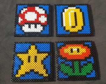 Super Mario Bros. Inspired Perler Bead /Hama Bead Coasters (4 set)