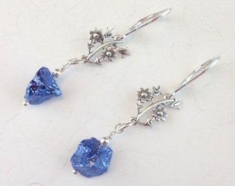 Blue Pyrite Earrings - Sterling silver earrings - Blue Jewelry - Icy Blue earrings - Lever backs - Pyrite jewelry - Jewelry gift - Blue Rock