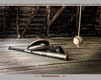 Baseball Photograph, Baseball Photography Fine Art Print or Canvas Wrap, Scripture Art, Christian Art