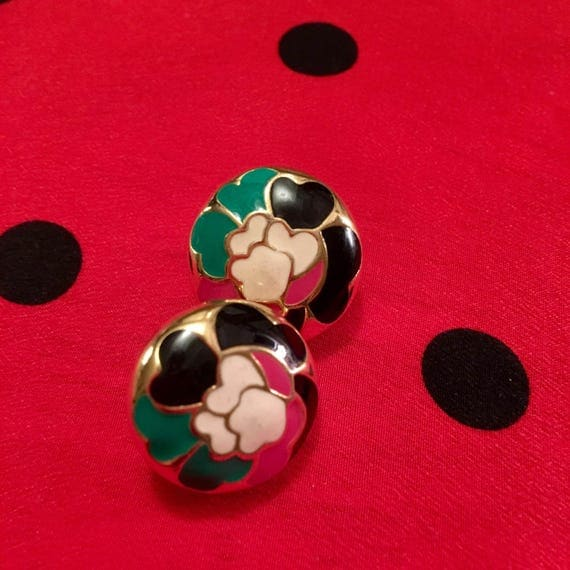Pretty vintage american style cloisonne enamel floral button style post earrings