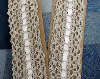 Crochet Bookmark Metallic with Cross Ribbon