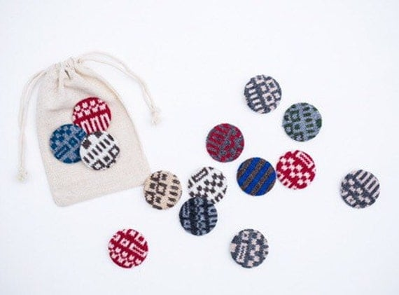 Fair Isle Badges - Set of 3 - 100% Lambswool