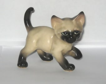 Imported Ceramic Siamese Cat Kitten Black and Ivory Animal Figurine Paw up