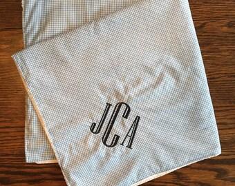 Gingham Baby Receiving Blanket/ Lightweight Baby Blanket/ Monogrammed Baby Blanket/ Baby Boy Blanket
