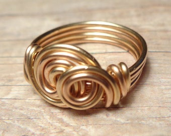 Rose Gold and Yellow Gold Ring, Mixed Metal Ring, Size 4 5 6 7 8 9 10 11 12 13 14 Gold and Silver Ring Wire Wrapped Jewelry Handmade