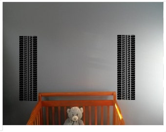 Kids room Tire Tracks Wall Decal Vinyl Sticker Home Wall Art Decor Ideas Interior Racing Room Removable Design