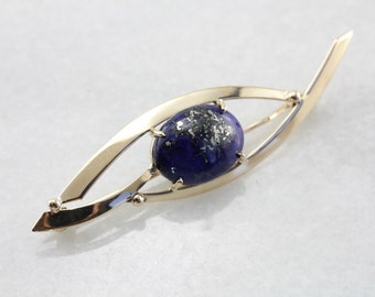 Sleek Lapis Brooch in Yellow Gold, Modernist and Abstract Pin U1PX5P-N