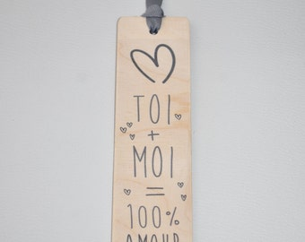 Bookmark wooden - you + me = 100 percent love