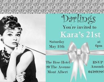 Tiffany Inspired Birthday Bridal Shower Invitation Personalized, Tiffany 21st birthday invitation, Tiffany birthday invitation,