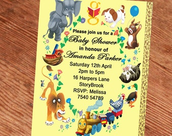 Little Golden Book Baby Shower Invitation Personalized, Baby Shower Invitation, Baby Shower Invite, Little Golden book invitation