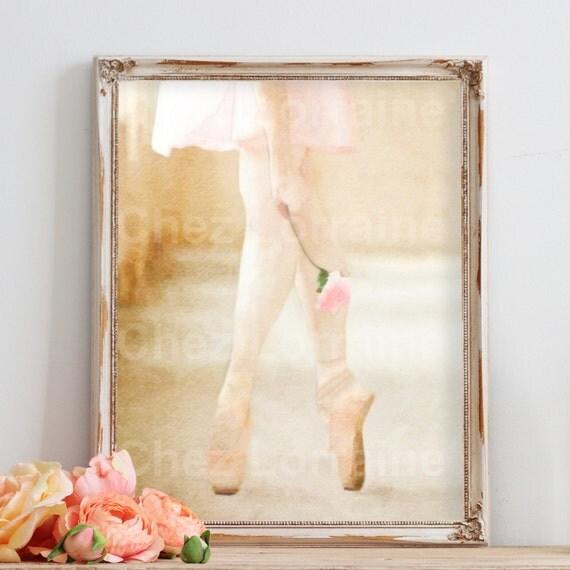 Blush Pink Bathroom Decor : Blush pink nursery art rose ballerina ballet dance