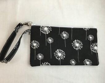 Dandelion Padded, Zipper Wristlet Purse, Bridesmaids Bag, Clutch Purse, Child's Purse, Wristlet gadget Bag - Choose Color