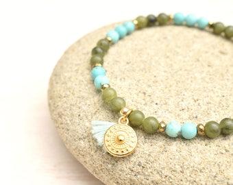 Jade bracelet, Turquoise bracelet, Jade jewelry, Tassel bracelet, Olive green bracelet, Layering bracelet, Gift for her, Turquoise jewelry