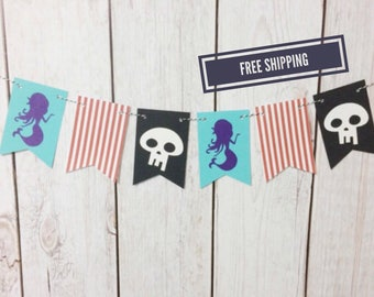 Pirate and Mermaid Banner, Jake and the Neverland Pirates, Neverland Pirates, Pirate Party, Mermaid Party, Pirate Mermaid, Birthday Banner