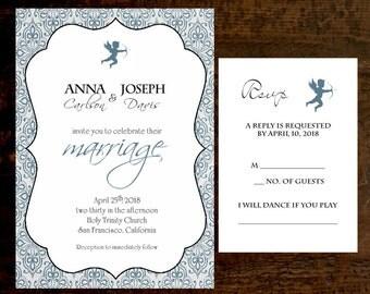 Wedding Invitation & RSVP Card Colonial Blue Printed Wedding Invitations