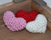 Red White and Pink Tiny Heart Trio Ready to Ship