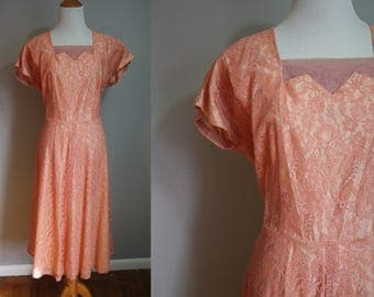 1950's Coral Pink Lace Party Dress // XL Large