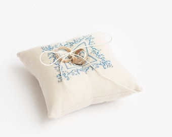 Ring Bearer Pillow  Ring Pillow  Wedding Pillow Embroidered Ivory Delfts Blue Ring Pillow