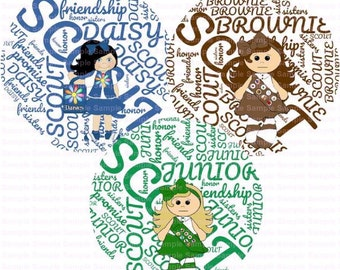 Girl Scout Word Art Bottle Cap Images 4x6 Bottlecap Collage Scrapbooking Jewelry Hairbow Center