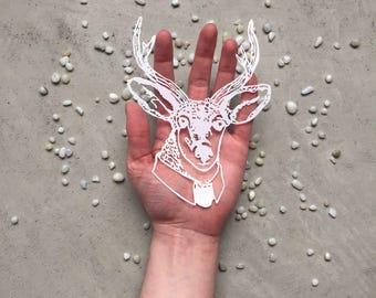 Stag in Suit Papercut - Hand Cut Deer Art - Deer Scherenschnitte - Kirigami Stag