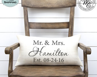 Wedding gift,  Monogram Pillow,  Wedding Gifts, Wedding Gifts for Couple, Personalized Pillow, Personalized Wedding Gift, Burlap