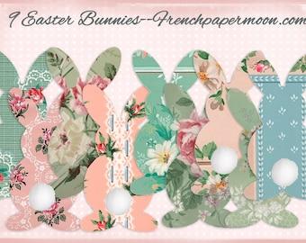 Vintage Wallpaper Bunnies, DIY Easter Bunny Garland, Floral Bunnies, Scrapbook Bunny Cut-outs, Scrapbook Bunnies, Easter Decor