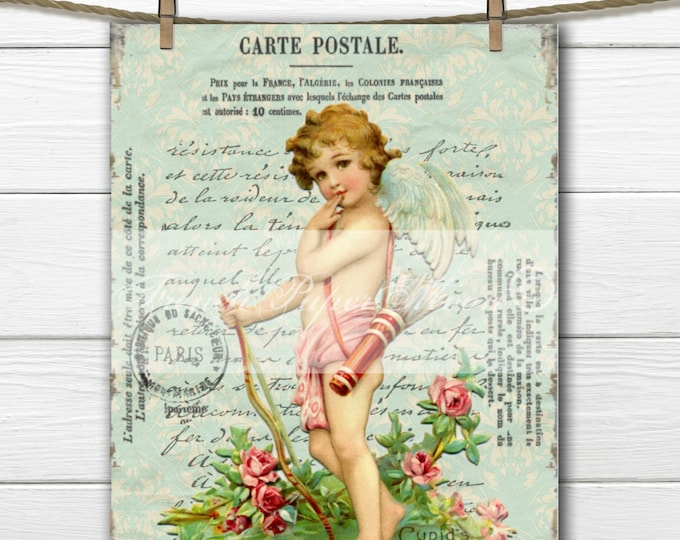 French Digital Postcard, Valentine Postcard, Shabby Chic Cherub, Angel, Cupid, Valentine Pillow Transfer Image