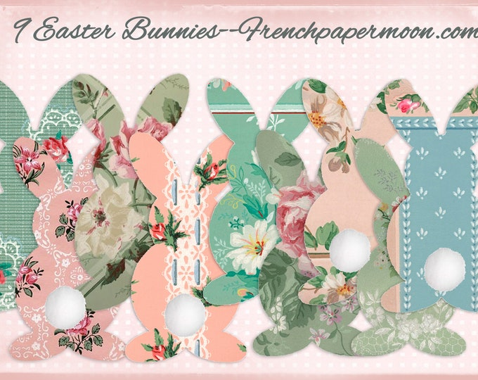 Vintage Wallpaper Bunnies, DIY Easter Bunny Garland, Floral Bunnies, Scrapbook Bunny Cut-outs, Scrapbook Bunnies, Easter Decor