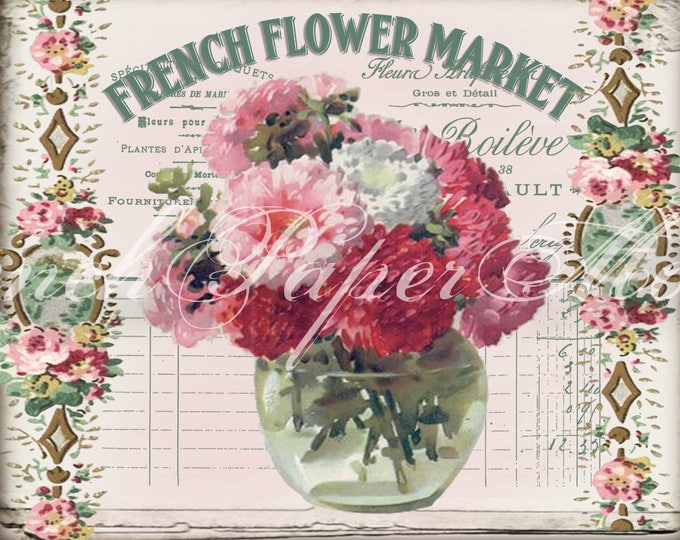 Digital Shabby Chic French Flower Market, Vintage Flowers, Vintage wallpaper, French Typography, French Pillow Image Graphic, Large Image