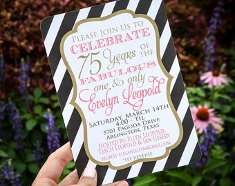 Printed Custom Party Invitation, Personalized Party Invites, Birthday Party Invitations, 75th Birthday Party Invitations