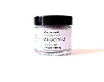 Chocolat Facial Mask. Chocolate + Honey Facial Mask. Vegan Mask. Moisturizing Face Mask Kaolin Clay + Honey + Raw Cocoa + Vanilla Spa Gift