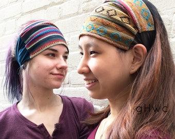 Authentic Headband | Wide Headband | Yoga Headband | Cotton Headband | Recycled, Multiple Color, Running, Boho, Aztec, Native, Head Bandana