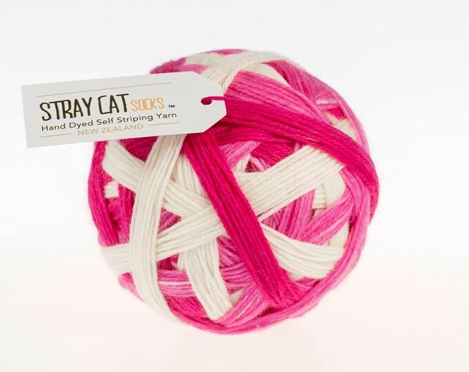 CANDY CANE TWIST - vibrant hand dyed self striping sock yarn