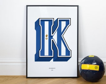 K is for Kilmarnock, Football Typography Print