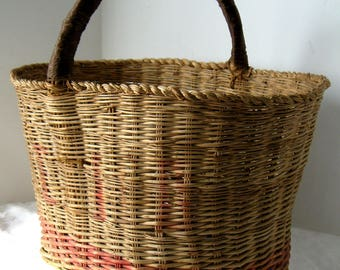 Antique PA Estate Basket with Red Detail, Tall Oval Gathering Basket