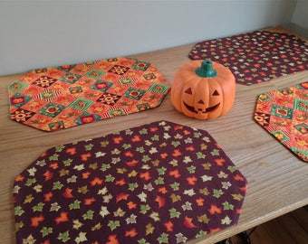 Autumn Placemats! Set of Four Fall Placemats featuring Pumpkins and Fall Leaves!
