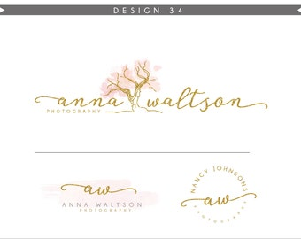 Watercolor Logo Design Branding Package Inc. Photography Logo Watermark - tree WATERCOLOR glitter initials letters script cute Logo- Logo 34