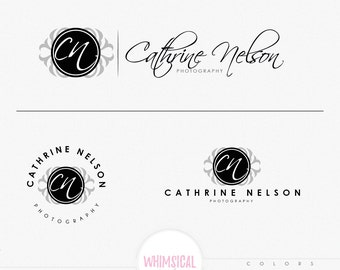 Photographer Logo 3-  Feminine EBMLEM Branding Package Inc. Photography - GOLD GLITTER initials letters script cute Watercolor