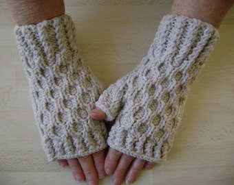 Textured Dark Cream Fingerless Gloves. Hand Warmers. Mittens. Hand Knit