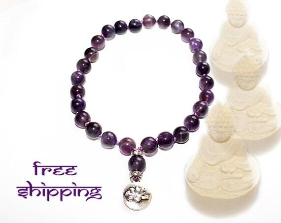 Pocket Japa Mala 27, Hand Knotted, Gemstone, Amethyst 8mm, Prayer Yoga Necklace for Meditation and Mantra - Free Shipping