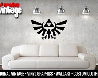 Zelda Triforce Hylian Crest Logo Decal Sticker Wall Arts