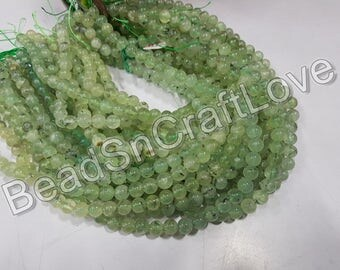 Prehnite   Plain Or Smooth Round Beads, 4/6/8 mm   AAA quality