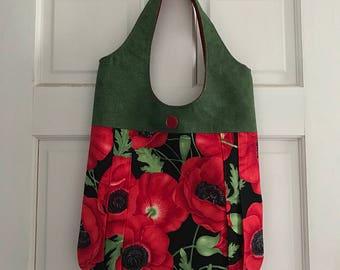 Red and Black Poppy Handbag/Tote