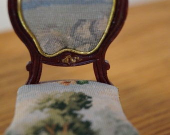 Dollhouse Side Chair with Petit Point; Trees, Sky, Clouds-- Free Shipping