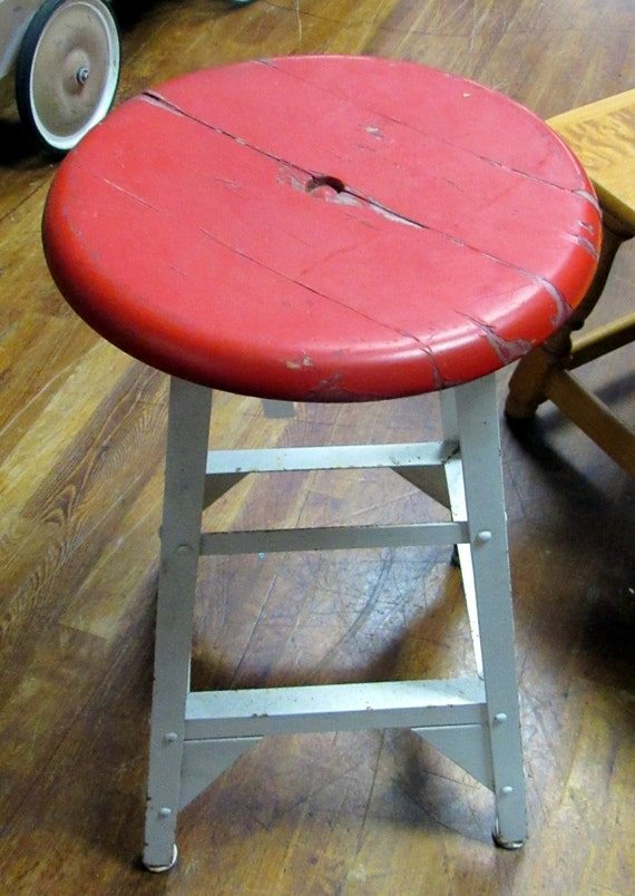 Industrial stool red and white